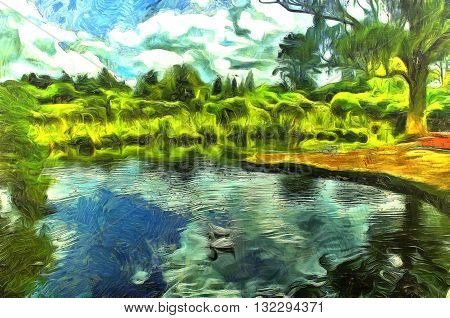 Digital Painting of an Idyllic scene of ducks in a pond surrounded by lush foliage and a sku filled with clouds in the style of Vincent Van Gogh