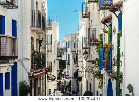 Whitewashed houses of Peniscola. Costa del Azahar province of Castellon Valencian Community. It is a popular tourist destination in Spain