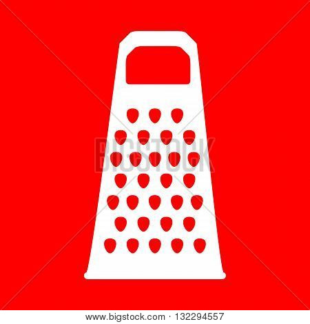 Cheese grater sign. White icon on red background.