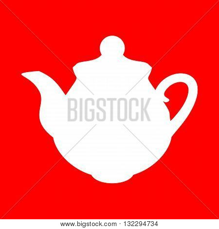Tea maker Kitchen sign. White icon on red background.