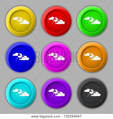 Sun Behind Cloud Icon Sign. Symbol On Nine Round Colourful Buttons. Vector