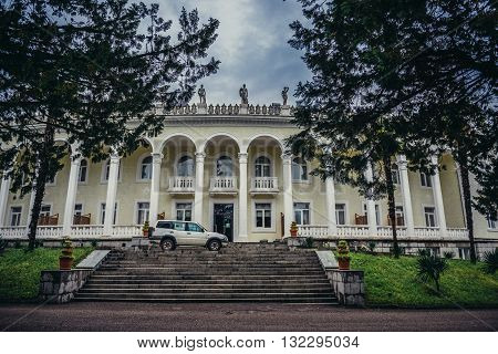 Tskaltubo Georgia - April 24 2015: Building of former resort of the Ministry of Defense of the Soviet Union where Joseph Stalin used to spent his vacations. Today it is Tskaltubo Spa Resort hotel.