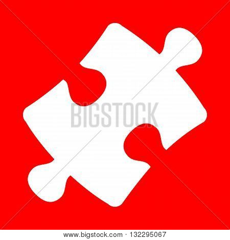Puzzle piece sign. White icon on red background.
