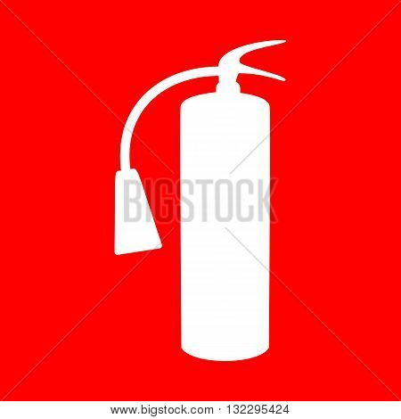 Fire extinguisher sign. White icon on red background.