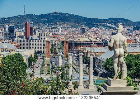 Barcelona Spain - May 22 2015: View at Four Columns on Reina Maria Cristina Avenue