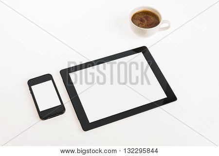 Digital Tablet Touch Pad Computer With Coffee
