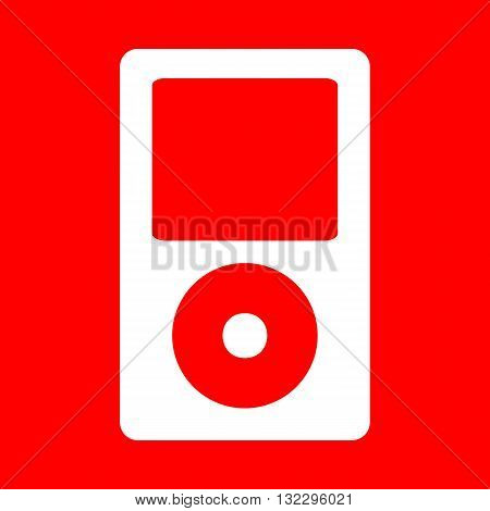 Portable music device. White icon on red background.