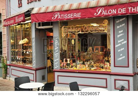 Valence France - april 13 2016 : window of a chocolate seller