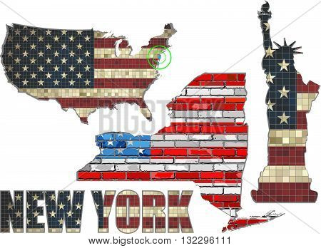 USA state of New York on a brick wall - Illustration, The flag of the state of New York on brick textured background,  Statue of liberty painted on brick wall, Font with the United States flag,  New York map on a brick wall