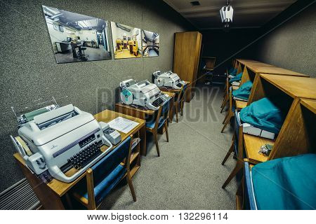 Konjic Bosnia and Herzegovina - August 25 2015. Siemens T100 Teleprinters in ARK (Atomska Ratna Komanda) Nuclear Command Bunker built between 1953 and 1979 for Josip Broz Tito