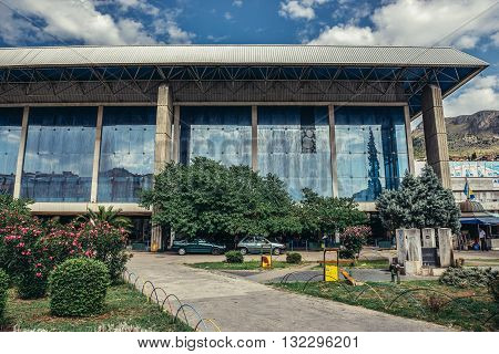 Mostar Bosnia and Herzegovina - August 25 2015. Building of bus terminal and railway station in Mostar