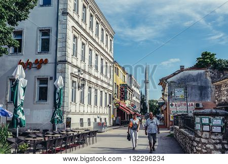 Mostar Bosnia and Herzegovina - August 25 2015. People walks at Brace Fejica street in Mostar