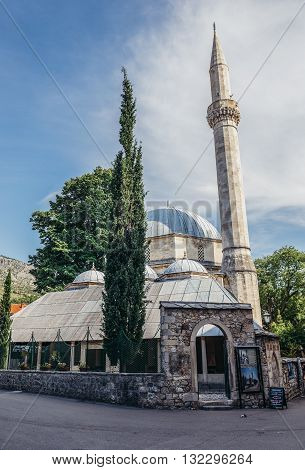 Mostar Bosnia and Herzegovina - August 25 2015. Karagoz Bey Mosque in Mostar renovated after damages during Bosnian War