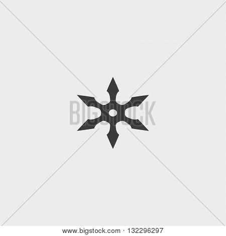 ninja star icon in a flat design in black color. Vector illustration eps10