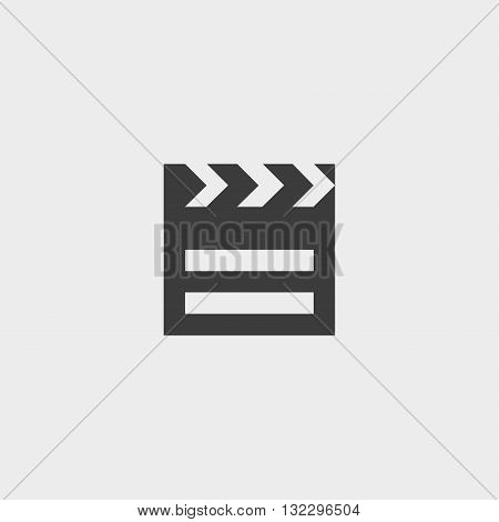 Clapperboard icon in a flat design in black color. Vector illustration eps10