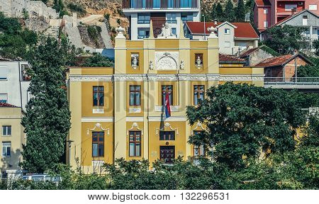 Mostar Bosnia and Herzegovina - August 25 2015. Metropolitan Palace in Mostar