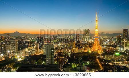 Beautiful tokyo cityscape Tokyo tower with mt. fuji at twilight time