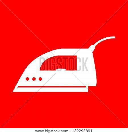 Smoothing Iron sign. White icon on red background.