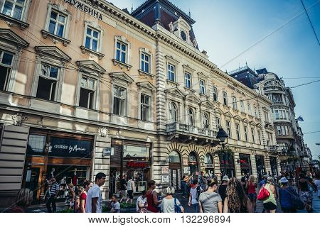 Belgrade Serbia - August 29 2015. People walks in front of Nikola Spasic Endowment building at Knez Mihailova (english: Prince Michael) Street