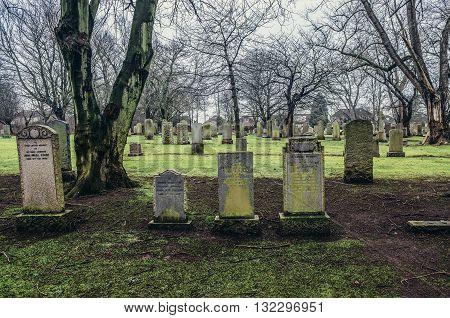 Edinburgh UK - January 20 2015. Old Cemetery on a lower slopes of Corstorphine Hill in Edinburgh city