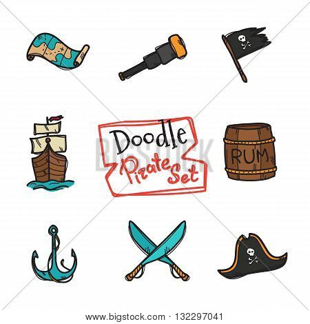 Vector doodle style pirate icons set. Hand drawn collection of pirate objects