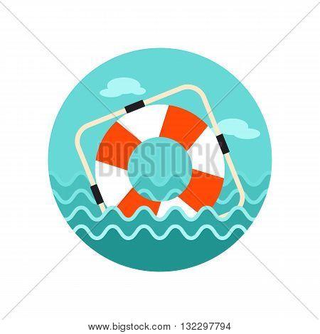 Lifebuoy vector icon. Beach. Summer. Marine. Summertime. Vacation eps 10