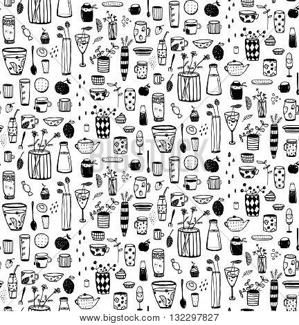 Crockery and dishware hand drawn doodle monochrome tileable cartoon pattern. Vector background.