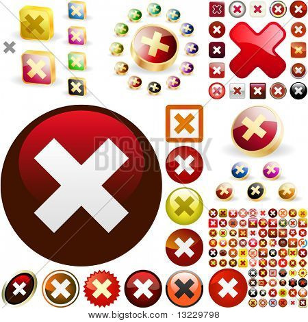 Rejected vector button set. Vector great collection.