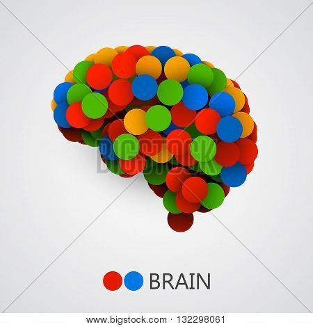 Abstract creative concept of brain made with circles. Brain icon. Brain icon vector. Brain vector. Brain colorful. Brain icon app. Brain icon image. Vector illustration