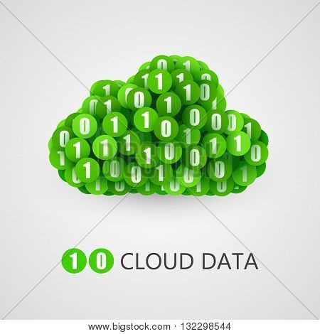 Binary big data cloud concept. Cloud technology sign with one and zero circles. Vector illustration