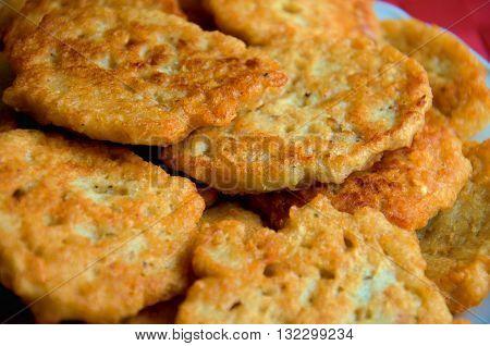 traditional slovak homemade fried potato pancakes with marjoram