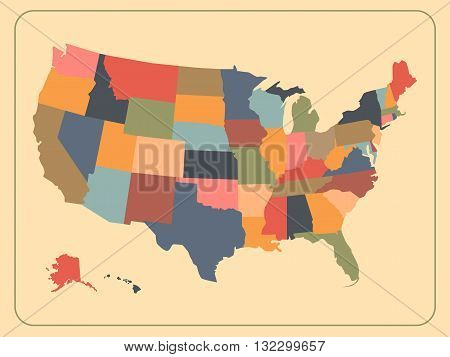 Colorful political USA map. Vintage map of the United States