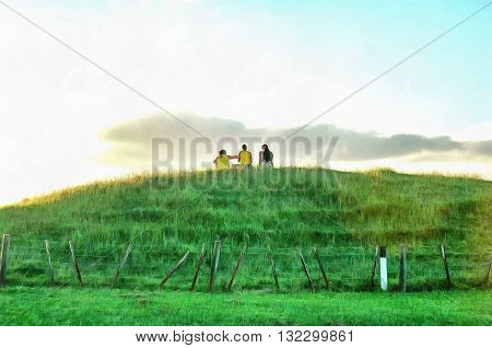 Painting of three friends sitting on a grass meadow on a hillock talking.