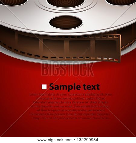 Film tape on red background. Cinema concept
