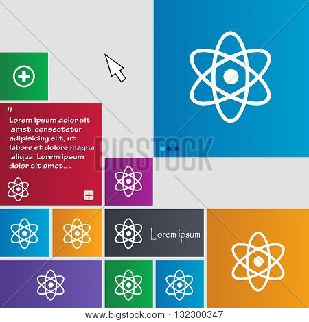 Atom, Physics Icon Sign. Buttons. Modern Interface Website Buttons With Cursor Pointer. Vector