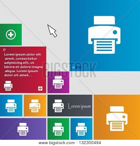 Fax, Printer Icon Sign. Buttons. Modern Interface Website Buttons With Cursor Pointer. Vector