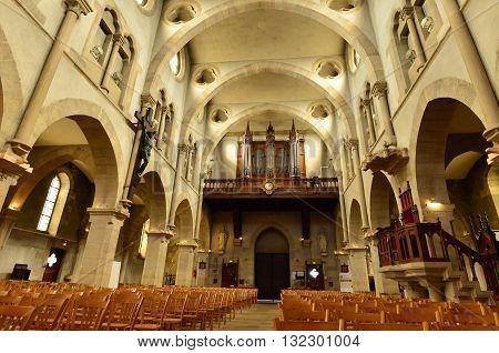 Maisons Laffitte France - april 4 2016 : the Saint Nicolas church