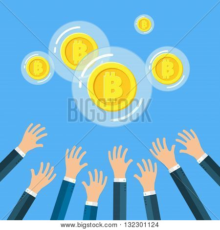 Concept of digital currency. Hands of businessmen are trying to get Golden Bitcoin in a bubble. Flat design, vector illustration.