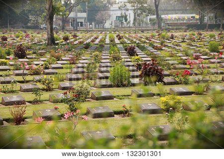 The Retro of Kanchanaburi war cemetery in Thailand