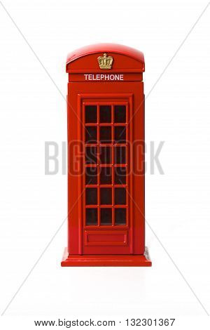 London red telephone box on white background