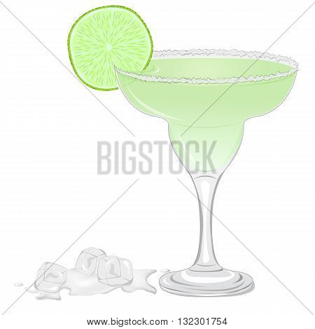Margarita cocktail with a slice of lime isolated on white background