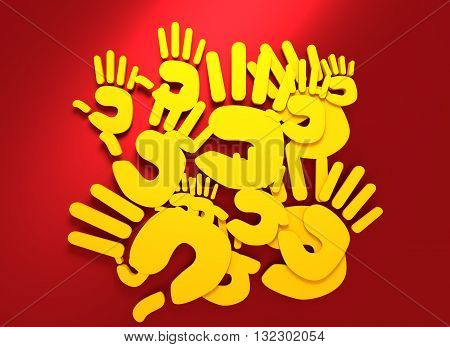 hand silhouette. 3D rendering. Yellow on red