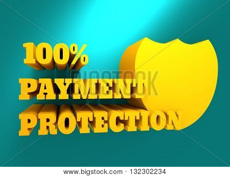 Buyer protection. Internet payments security. Text and shield. 3D rendering