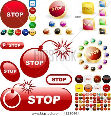 Stop button for web. Vector great collection.