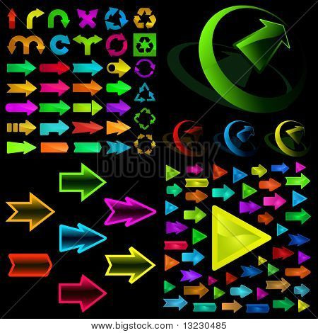 A vector set of useful arrows. Vector great collection.