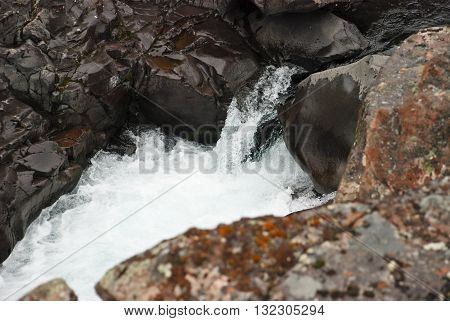 Photo waterfall made during a hike in 2011 on the Putorana plateau. Taimyr Peninsula Russia.