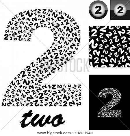 """Two"". Great vector set for design."