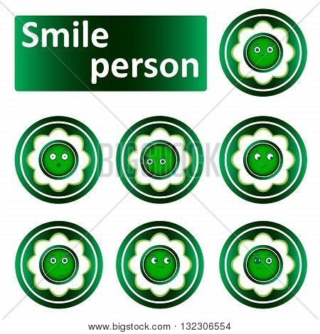 Green icons clipart with the conceptual abstract face