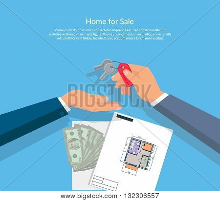 House for sale. Broker gives keys to the buyer of the apartment house and buyer gives the money dollars. Vector illustration