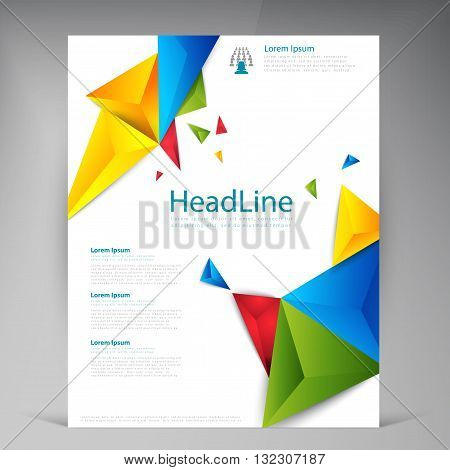 Abstract vector modern flyers brochure. Business brochure flyer design layout template in A4. Triangle